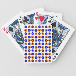 Blue and orange flowers playing cards