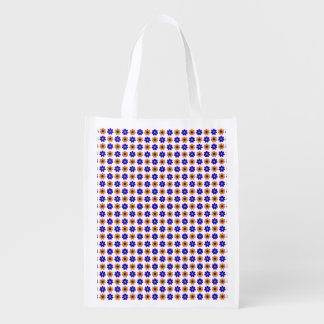Blue and orange flowers reusable grocery bag
