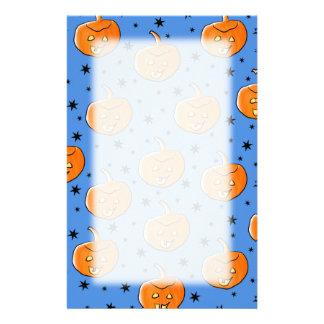 Blue and Orange Halloween Pumpkin Pattern Personalized Stationery