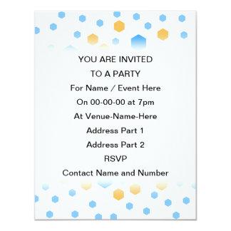 Blue and Orange Hexagons. 11 Cm X 14 Cm Invitation Card