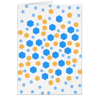 Blue and Orange Hexagons. Greeting Card
