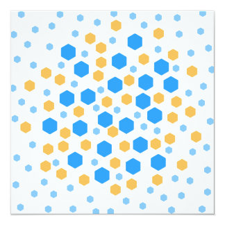 Blue and Orange Hexagons. Personalized Announcement