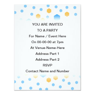 Blue and Orange Hexagons. 4.25x5.5 Paper Invitation Card