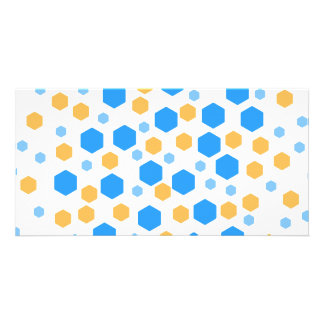 Blue and Orange Hexagons. Customized Photo Card