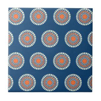 Blue and Orange Mandala Decorative Circles Tile