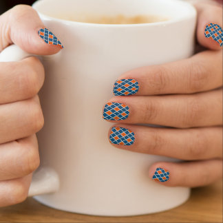 Blue and orange Moroccan pattern Minx Nail Art