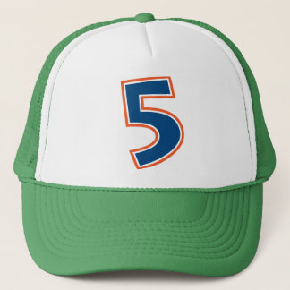 Blue and Orange Number 5 Trucker Hat