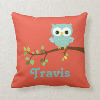 Blue and Orange Owl Keepsake Cushion Baby Gift