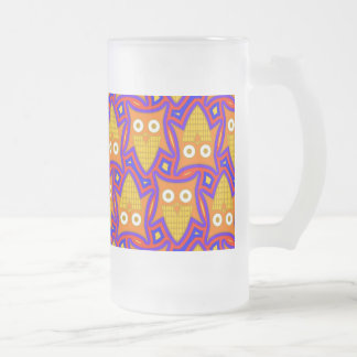 Blue and Orange Owl Pattern Frosted Glass Coffee Mug