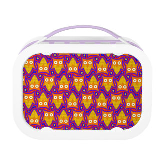 Blue and Orange Owl Pattern Lunch Box