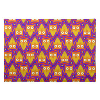 Blue and Orange Owl Pattern Placemat