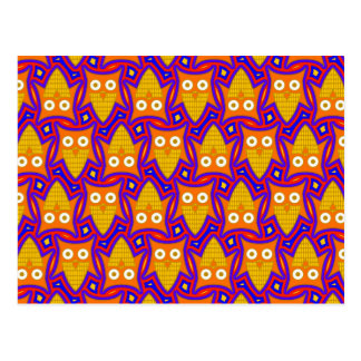 Blue and Orange Owl Pattern Postcard