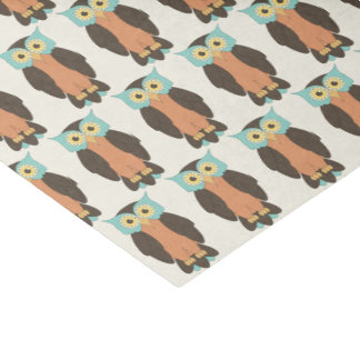 Blue and Orange Owl Tissue Paper