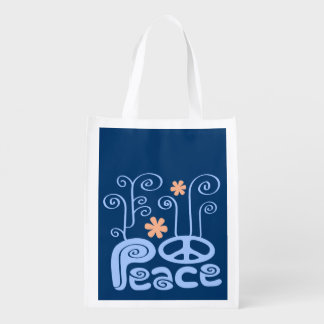 Blue and Orange Peace Grocery Bag