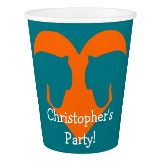 Blue and Orange Personalized Horse Paper Cup