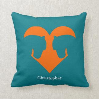Blue and Orange Personalized Pony Cushion