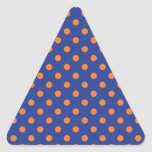 Blue and Orange Polka Dots Triangle Sticker