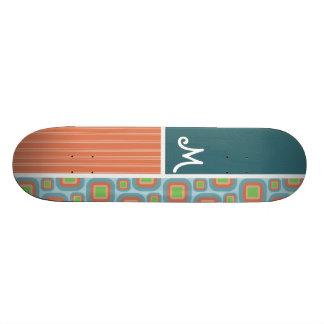 Blue and Orange Retro Pattern Skateboard Decks