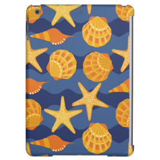 Blue And Orange Seashell Pattern
