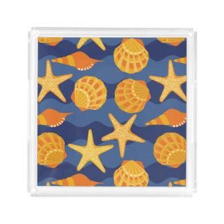 Blue And Orange Seashell Pattern Acrylic Tray