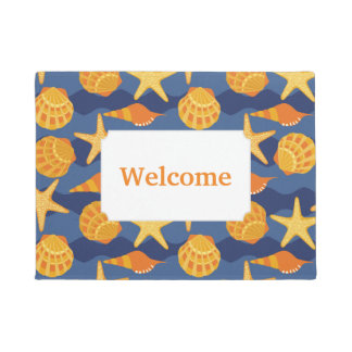 Blue And Orange Seashell Pattern | Add Your Text Doormat