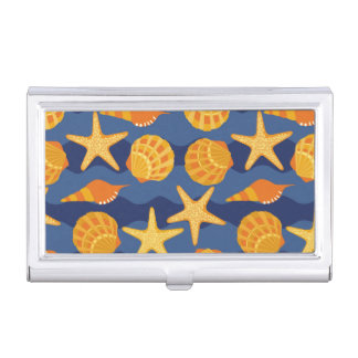 Blue And Orange Seashell Pattern Business Card Holders