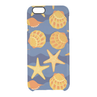 Blue And Orange Seashell Pattern Clear iPhone 6/6S Case