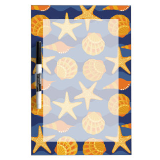 Blue And Orange Seashell Pattern Dry Erase Board