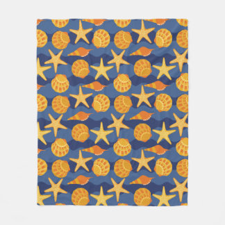 Blue And Orange Seashell Pattern Fleece Blanket
