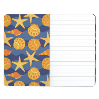 Blue And Orange Seashell Pattern Journal