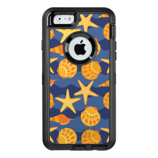 Blue And Orange Seashell Pattern OtterBox Defender iPhone Case