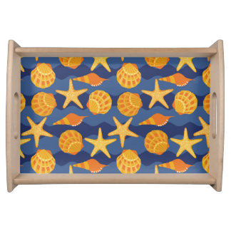 Blue And Orange Seashell Pattern Serving Tray