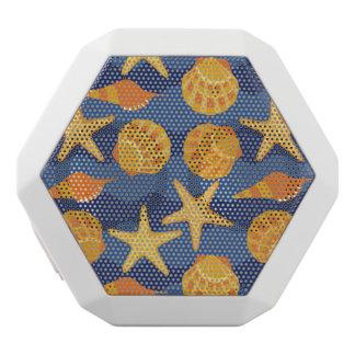 Blue And Orange Seashell Pattern White Bluetooth Speaker