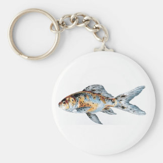 Blue and Orange Shubunkin Goldfish Fish Drawing Key Ring