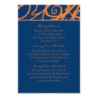 "Blue and Orange Sketchy Frame Wedding Directions 3.5"" X 5"" Invitation Card"