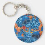 Blue and Orange Skulls Key Chain