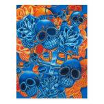 Blue and Orange Skulls Postcards
