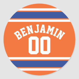Blue and Orange Sports Jersey Custom Name Number Classic Round Sticker