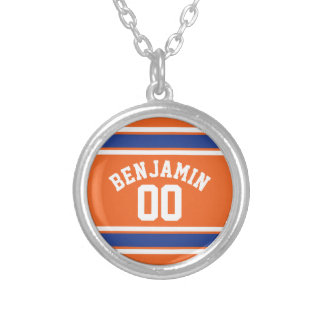 Blue and Orange Sports Jersey Custom Name Number Silver Plated Necklace