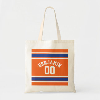 Blue and Orange Sports Jersey Custom Name Number Tote Bag