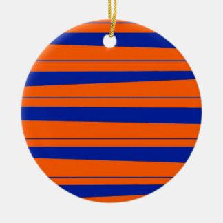 Blue and Orange Stripes Bold Gators Pattern Round Ceramic Decoration