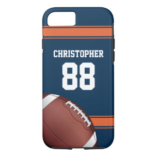 Blue and Orange Stripes Jersey Grid Iron Football iPhone 8/7 Case