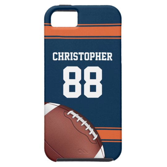 Blue and Orange Stripes Jersey Grid Iron Football Tough iPhone 5 Case