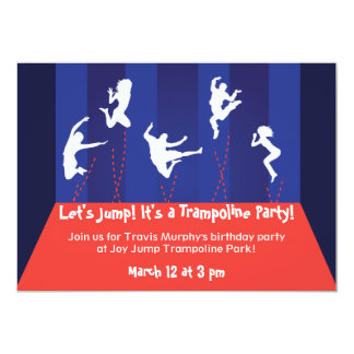 Blue and Orange Trampoline Party Invitation