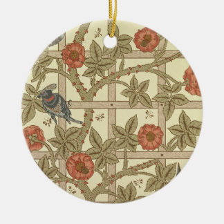 Blue and orange trellis wallpaper design, 1864 christmas ornament