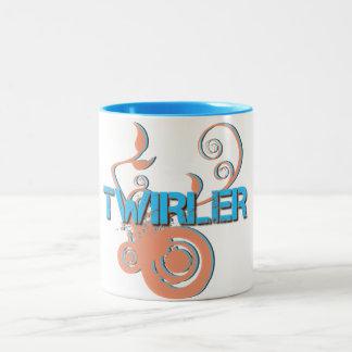 Blue and Orange Twirler Two-Tone Coffee Mug