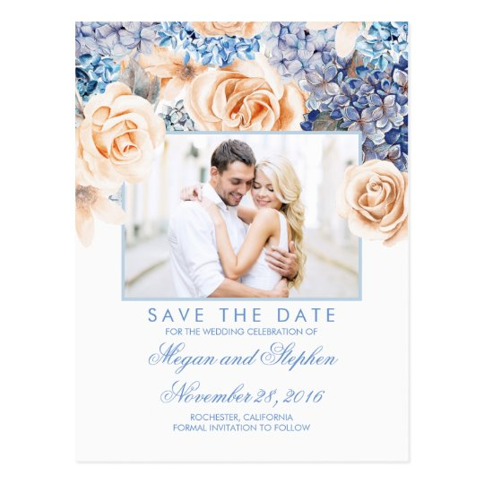 Blue and Peach Floral Watercolors Save the Date