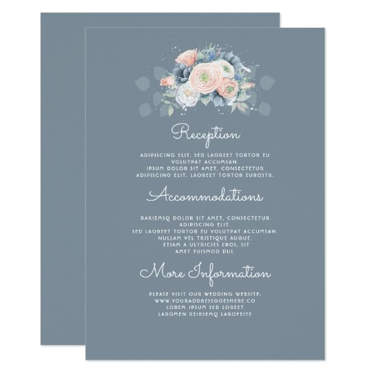 Blue and Peach Floral Wedding Information Guest Card