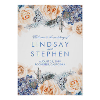 Blue and Peach Floral Wreath Wedding Welcome Sign