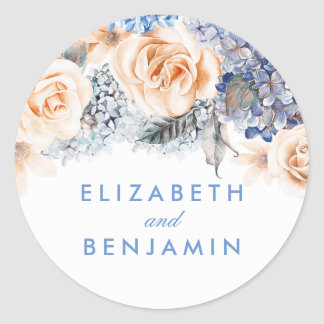 Blue and Peach Flowers Elegant Wedding Classic Round Sticker